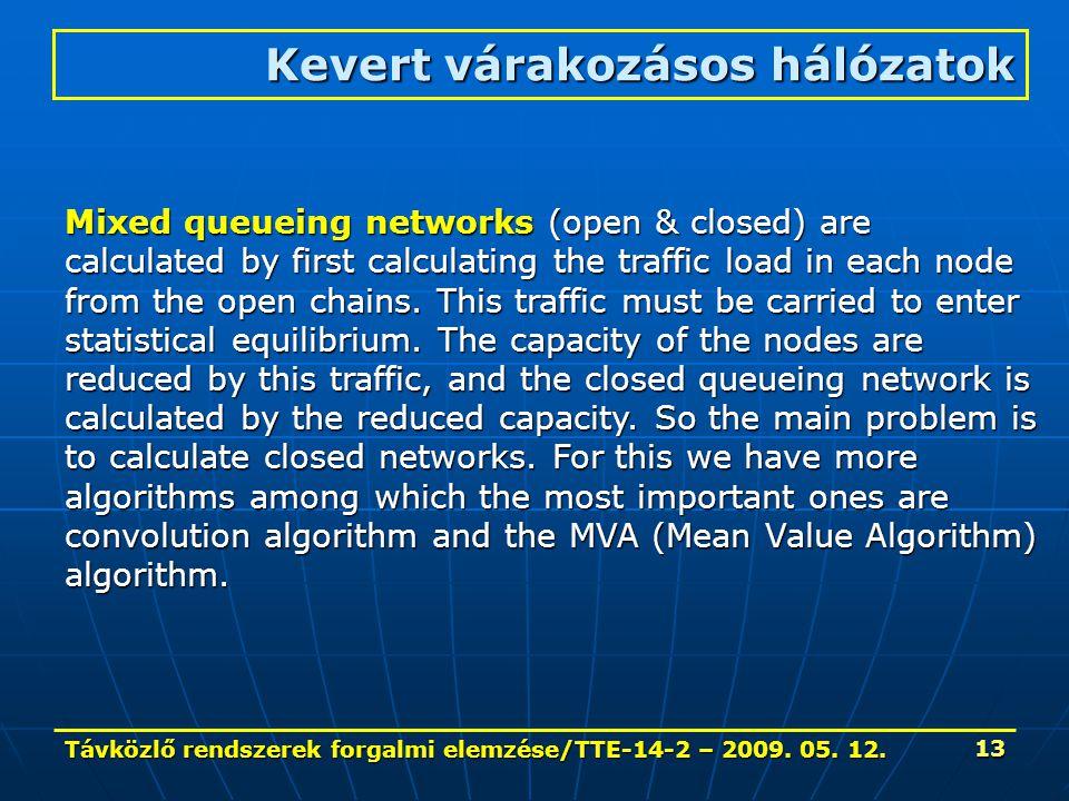 Távközlő rendszerek forgalmi elemzése/TTE-14-2 – 2009. 05. 12. 13 Kevert várakozásos hálózatok Mixed queueing networks (open & closed) are calculated