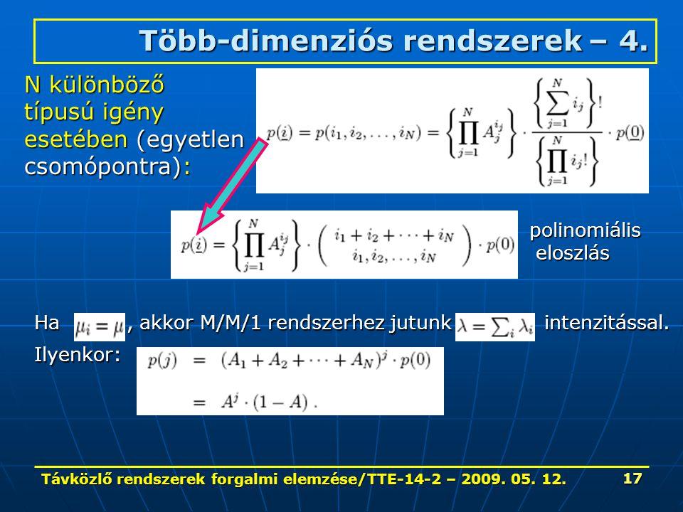 Távközlő rendszerek forgalmi elemzése/TTE-14-2 – 2009. 05. 12. 17 Több-dimenziós rendszerek – 4. N különböző típusú igény esetében (egyetlen csomópont