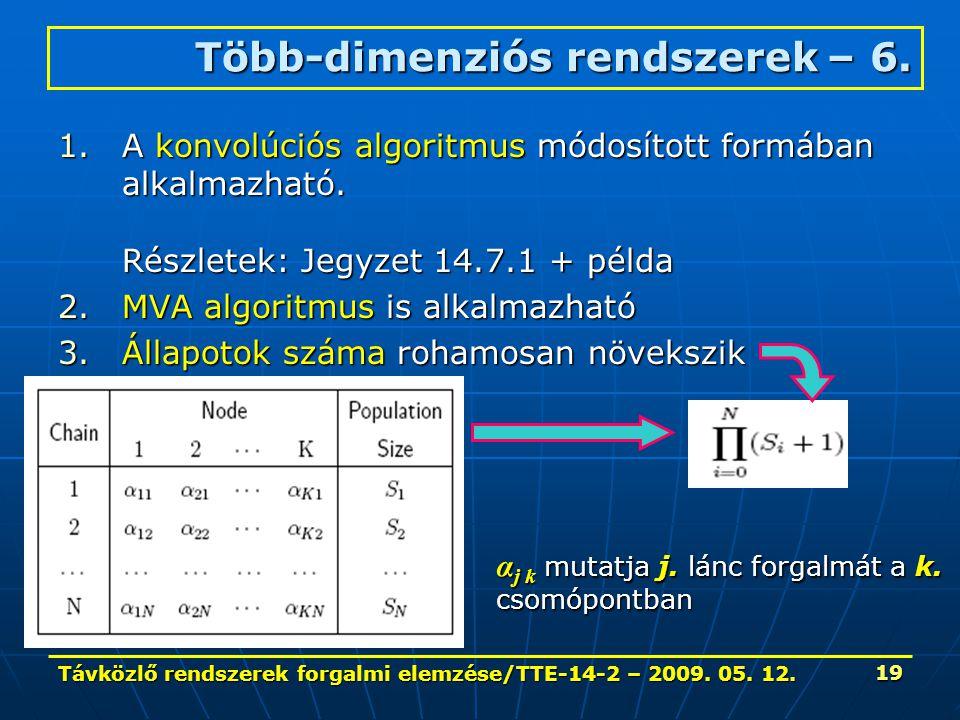 Távközlő rendszerek forgalmi elemzése/TTE-14-2 – 2009. 05. 12. 19 1.A konvolúciós algoritmus módosított formában alkalmazható. Részletek: Jegyzet 14.7