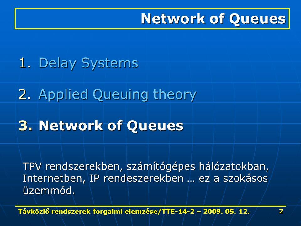 Távközlő rendszerek forgalmi elemzése/TTE-14-2 – 2009. 05. 12. 2 1.Delay Systems 2.Applied Queuing theory 3.Network of Queues Network of Queues TPV re