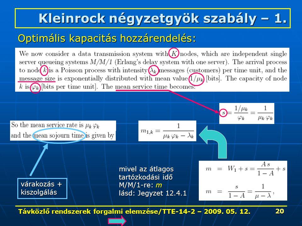 Távközlő rendszerek forgalmi elemzése/TTE-14-2 – 2009. 05. 12. 20 Kleinrock négyzetgyök szabály – 1. Optimális kapacitás hozzárendelés: várakozás + ki
