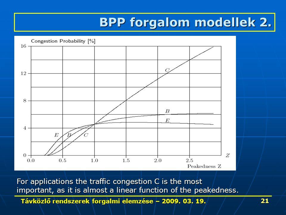 Távközlő rendszerek forgalmi elemzése – 2009. 03. 19. 21 BPP forgalom modellek 2. For applications the traffic congestion C is the most important, as