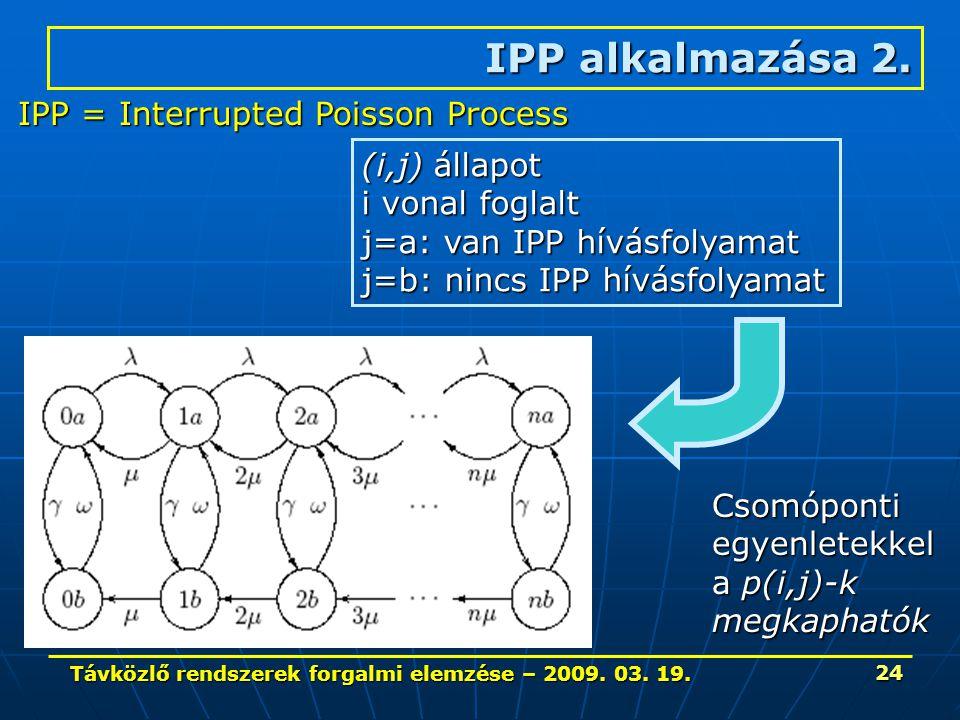 Távközlő rendszerek forgalmi elemzése – 2009. 03. 19. 24 IPP alkalmazása 2. IPP = Interrupted Poisson Process (i,j) állapot i vonal foglalt j=a: van I
