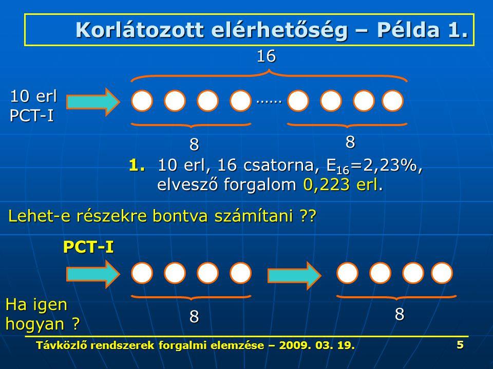 Távközlő rendszerek forgalmi elemzése – 2009. 03. 19. 5 Korlátozott elérhetőség – Példa 1. …… 10 erl PCT-I 16 8 8 1. 10 erl, 16 csatorna, E 16 =2,23%,