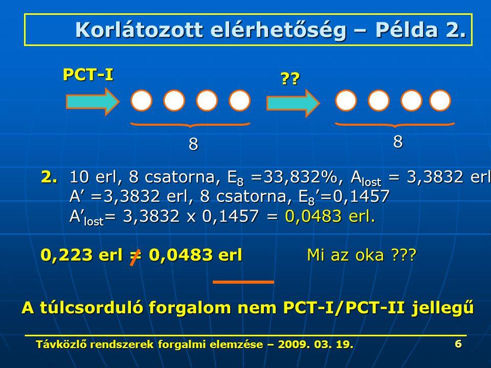 Távközlő rendszerek forgalmi elemzése – 2009. 03. 19. 6 Korlátozott elérhetőség – Példa 2. 8 8 PCT-I ?? 2. 10 erl, 8 csatorna, E 8 =33,832%, A lost =