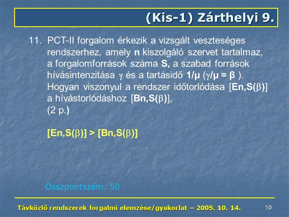 Távközlő rendszerek forgalmi elemzése/gyakorlat – 2005. 10. 14. 10 (Kis-1) Zárthelyi 9. 11. PCT-II forgalom érkezik a vizsgált veszteséges rendszerhez