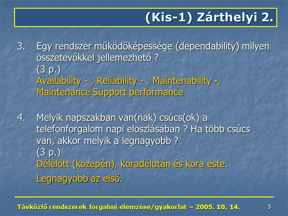 Távközlő rendszerek forgalmi elemzése/gyakorlat – 2005. 10. 14. 3 3.Egy rendszer működőképessége (dependability) milyen összetevőkkel jellemezhető ? (