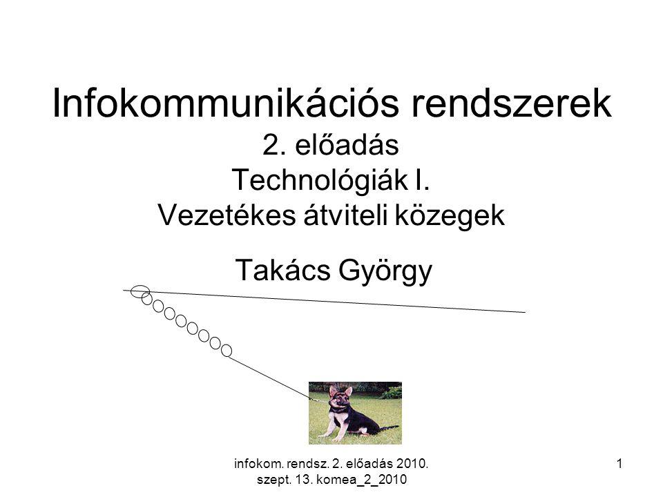 infokom. rendsz. 2. előadás 2010. szept. 13. komea_2_2010 1 Infokommunikációs rendszerek 2.