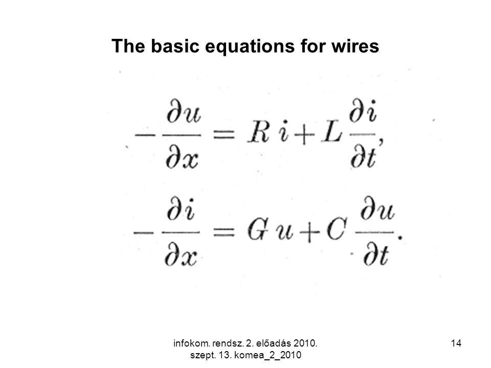 infokom. rendsz. 2. előadás 2010. szept. 13. komea_2_2010 14 The basic equations for wires