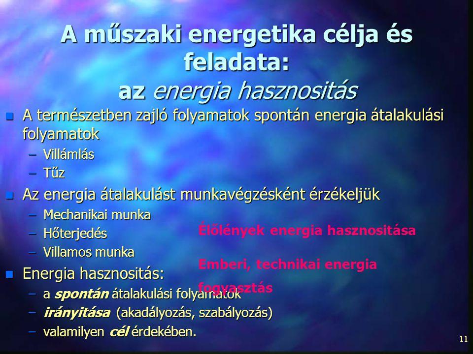 11 A műszaki energetika célja és feladata: az energia hasznositás n A természetben zajló folyamatok spontán energia átalakulási folyamatok –Villámlás