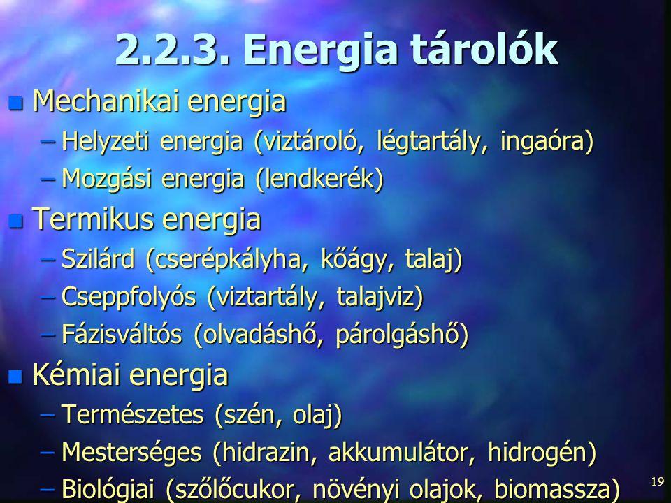 19 2.2.3. Energia tárolók n Mechanikai energia –Helyzeti energia (viztároló, légtartály, ingaóra) –Mozgási energia (lendkerék) n Termikus energia –Szi