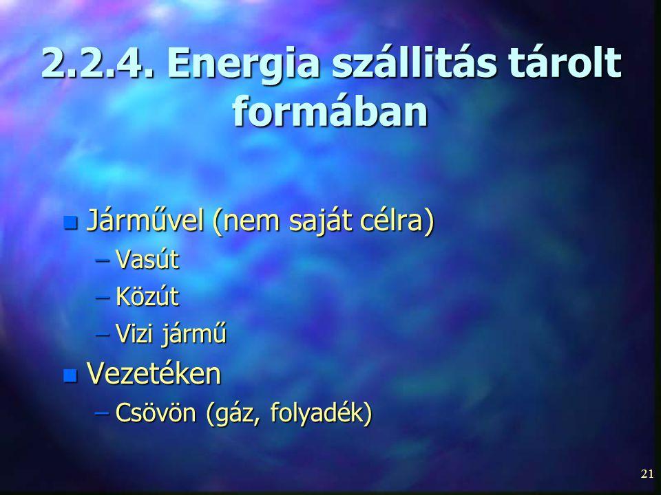 21 2.2.4. Energia szállitás tárolt formában n Járművel (nem saját célra) –Vasút –Közút –Vizi jármű n Vezetéken –Csövön (gáz, folyadék)