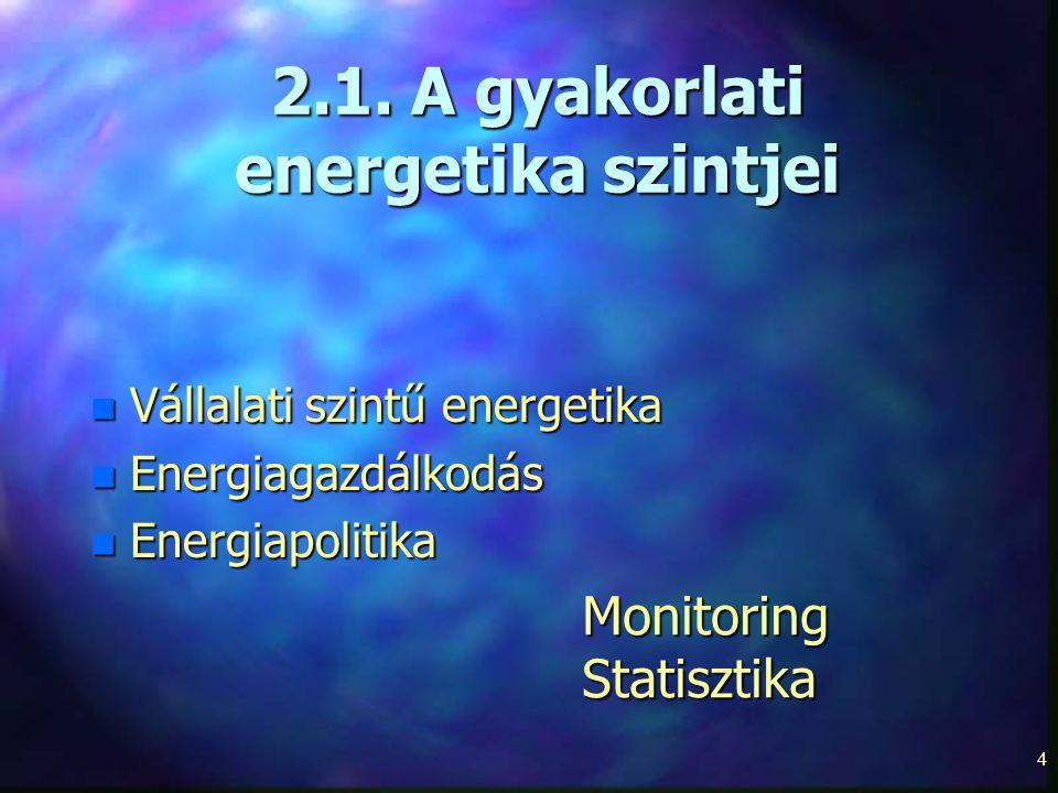 4 2.1. A gyakorlati energetika szintjei n Vállalati szintű energetika n Energiagazdálkodás n Energiapolitika MonitoringStatisztika
