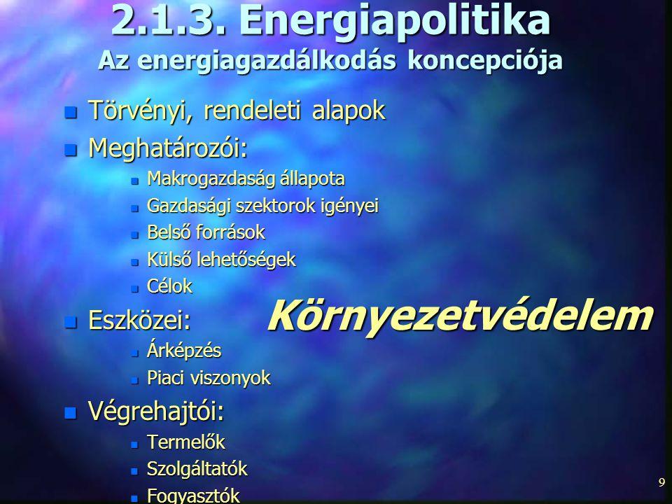 9 2.1.3. Energiapolitika Az energiagazdálkodás koncepciója n Törvényi, rendeleti alapok n Meghatározói: n Makrogazdaság állapota n Gazdasági szektorok