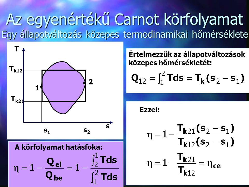 8 A Carnot körfolyamat jelentősége n Technikai megvalósitásával nem érdemes bajlódni.