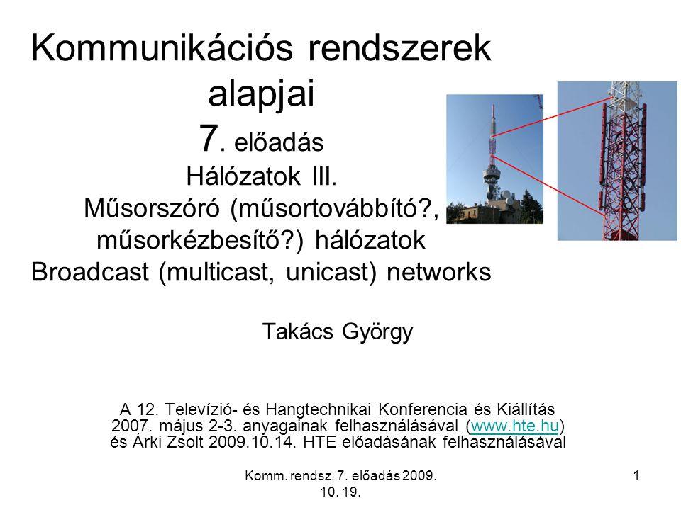 Komm. rendsz. 7. előadás 2009. 10. 19. 1 Kommunikációs rendszerek alapjai 7. előadás Hálózatok III. Műsorszóró (műsortovábbító?, műsorkézbesítő?) háló