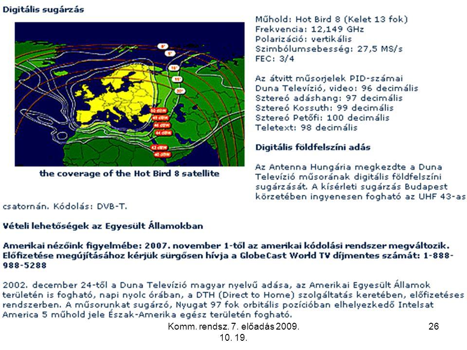 Komm. rendsz. 7. előadás 2009. 10. 19. 26