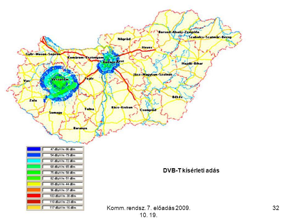 Komm. rendsz. 7. előadás 2009. 10. 19. 32 DVB-T kísérleti adás