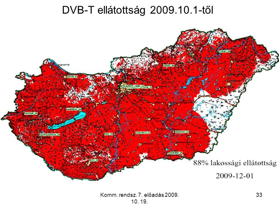Komm. rendsz. 7. előadás 2009. 10. 19. 33 DVB-T ellátottság 2009.10.1-től
