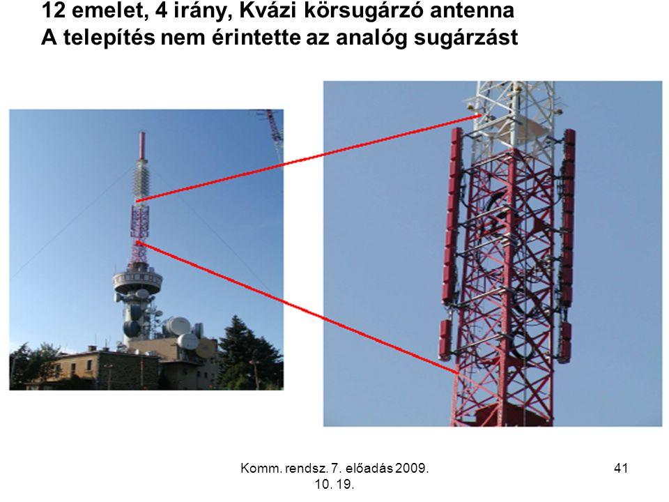 Komm. rendsz. 7. előadás 2009. 10. 19. 41 12 emelet, 4 irány, Kvázi körsugárzó antenna A telepítés nem érintette az analóg sugárzást