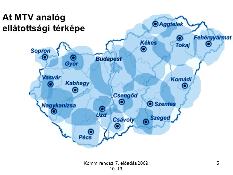 Komm. rendsz. 7. előadás 2009. 10. 19. 5 At MTV analóg ellátottsági térképe