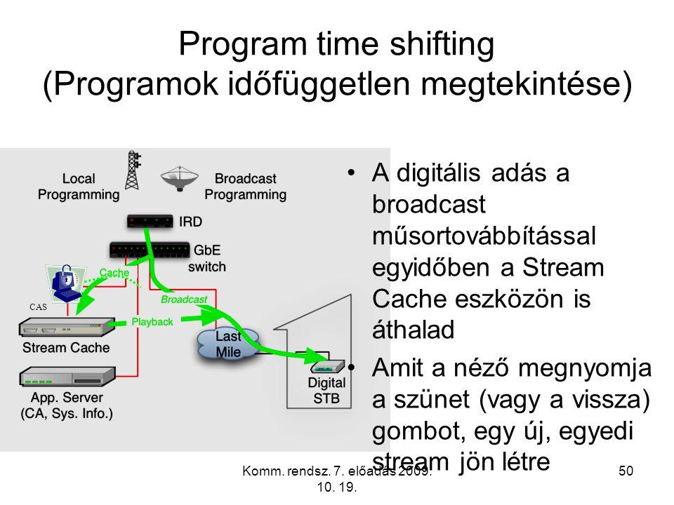 Komm. rendsz. 7. előadás 2009. 10. 19. 50 Program time shifting (Programok időfüggetlen megtekintése) A digitális adás a broadcast műsortovábbítással
