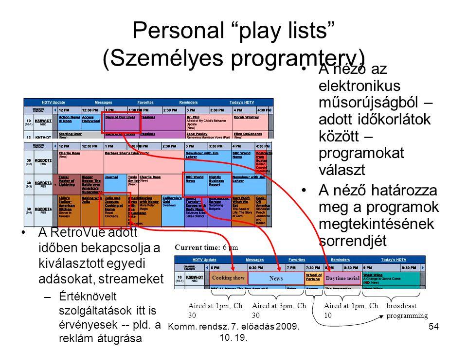 """Komm. rendsz. 7. előadás 2009. 10. 19. 54 Personal """"play lists"""" (Személyes programterv) A néző az elektronikus műsorújságból – adott időkorlátok közöt"""