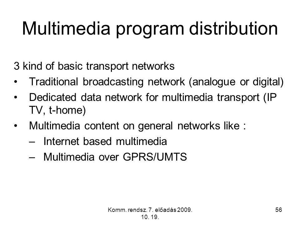 Komm. rendsz. 7. előadás 2009. 10. 19. 56 Multimedia program distribution 3 kind of basic transport networks Traditional broadcasting network (analogu