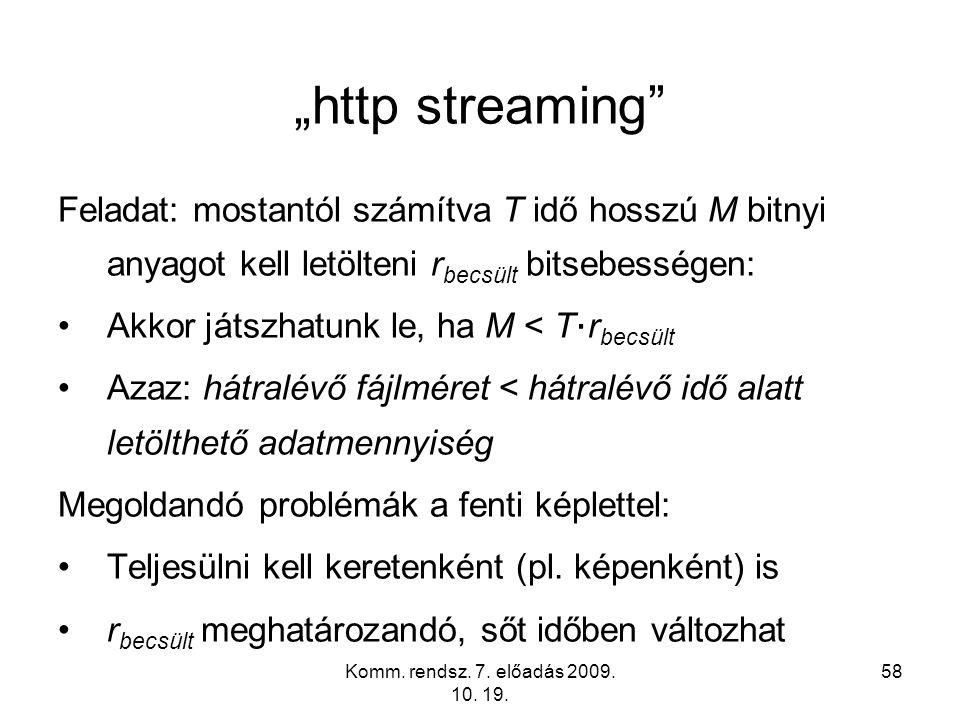 """Komm. rendsz. 7. előadás 2009. 10. 19. 58 """"http streaming"""" Feladat: mostantól számítva T idő hosszú M bitnyi anyagot kell letölteni r becsült bitsebes"""