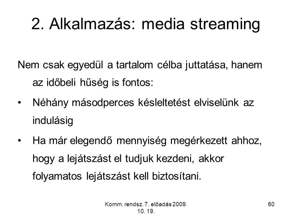 Komm. rendsz. 7. előadás 2009. 10. 19. 60 2. Alkalmazás: media streaming Nem csak egyedül a tartalom célba juttatása, hanem az időbeli hűség is fontos
