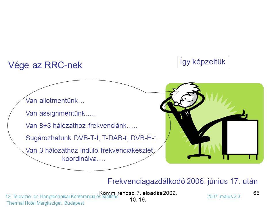 Komm. rendsz. 7. előadás 2009. 10. 19. 65 12. Televízió- és Hangtechnikai Konferencia és Kiállítás 2007. május 2-3 Thermal Hotel Margitsziget, Budapes