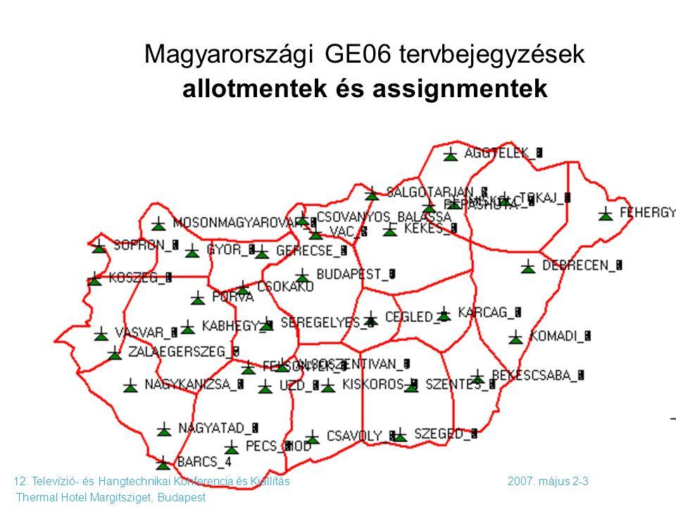 Komm. rendsz. 7. előadás 2009. 10. 19. 68 Magyarországi GE06 tervbejegyzések allotmentek és assignmentek 12. Televízió- és Hangtechnikai Konferencia é