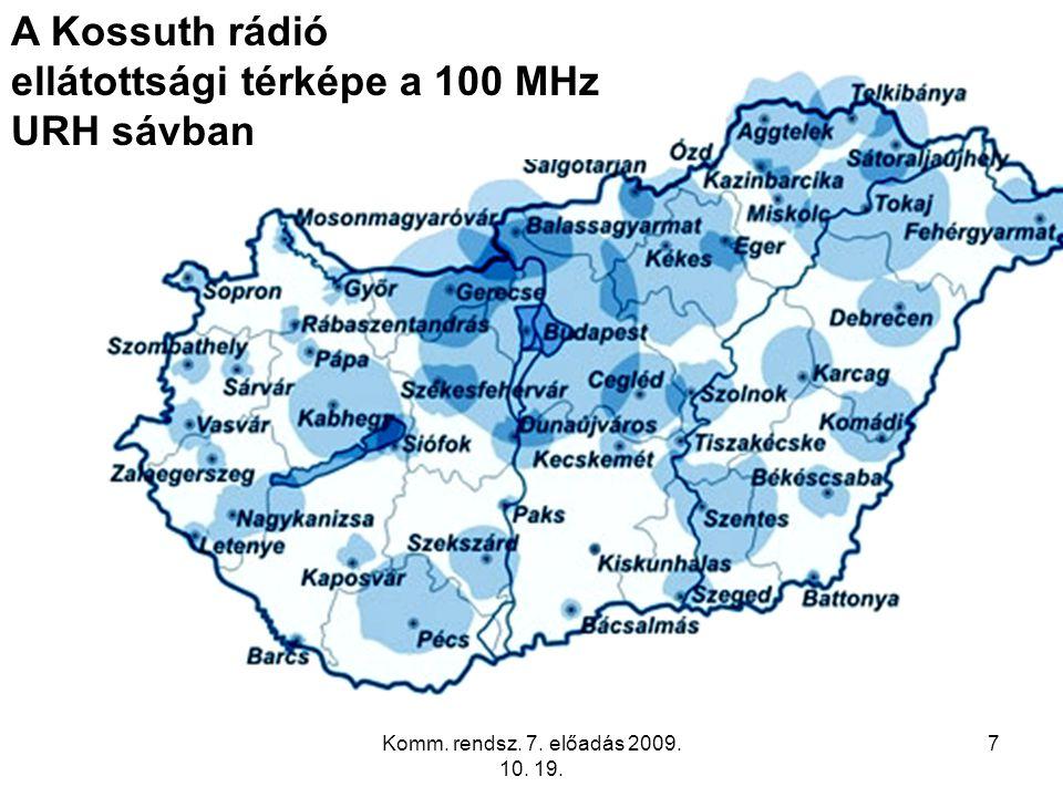 7 A Kossuth rádió ellátottsági térképe a 100 MHz URH sávban