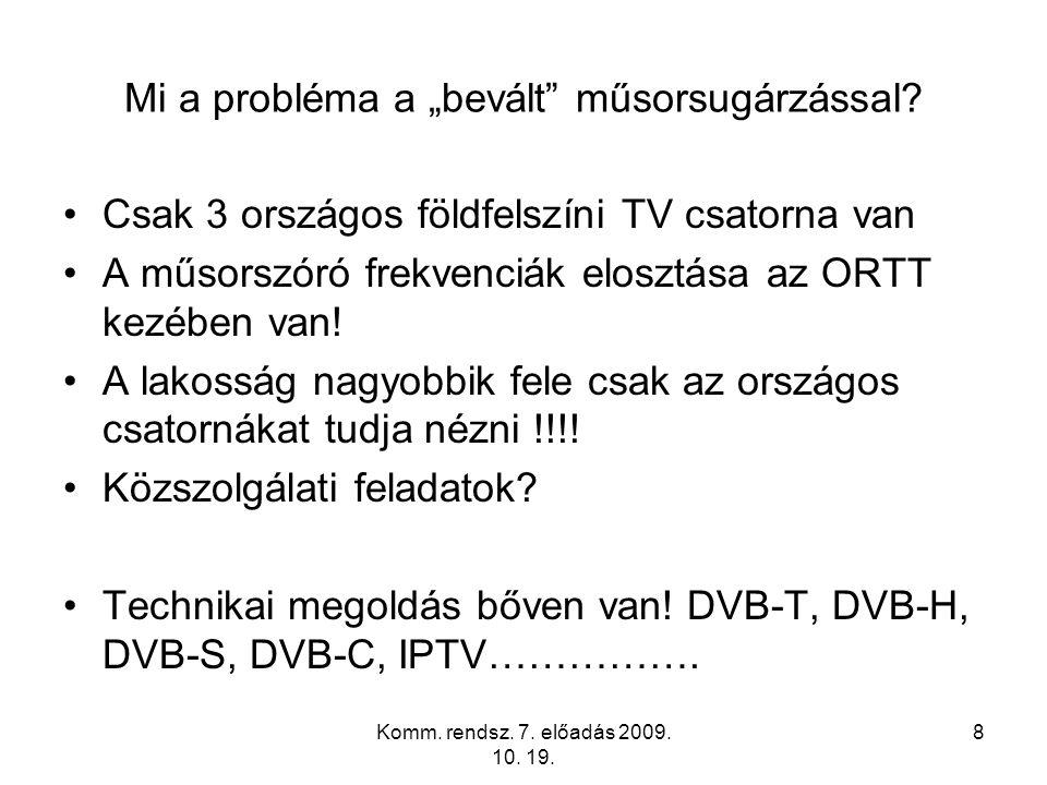 """Komm. rendsz. 7. előadás 2009. 10. 19. 8 Mi a probléma a """"bevált"""" műsorsugárzással? Csak 3 országos földfelszíni TV csatorna van A műsorszóró frekvenc"""
