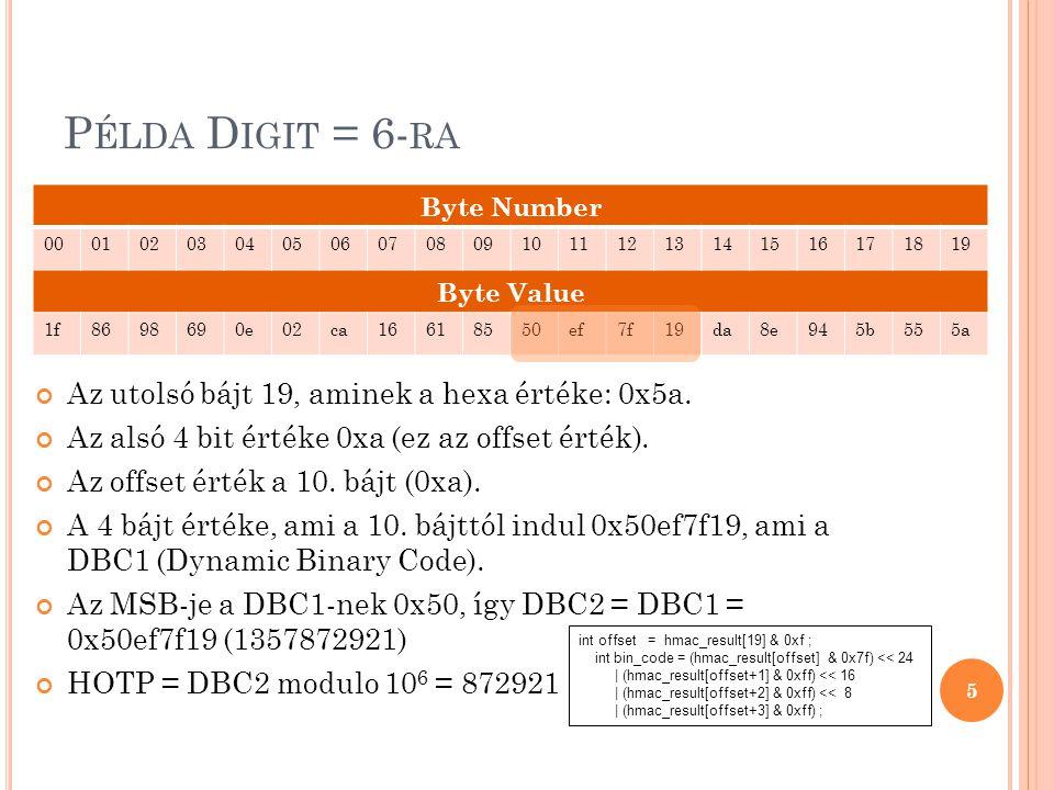 B IZTONSÁGI MEGFONTOLÁSOK, ELVÁRÁSOK T-nek és s-nek és Digit-nek van szerepe a biztonság terén Nem szabad sérülékenynek lennie egy brute force támadással szemben Egy biztonságos csatornán keresztül kell implementálni, hogy biztosítható legyen a felhasználók közötti interakciók biztonsága A HOTP biztonságossága az alábbi formulával fejezhető ki: Sec = sv/10 Digit 6
