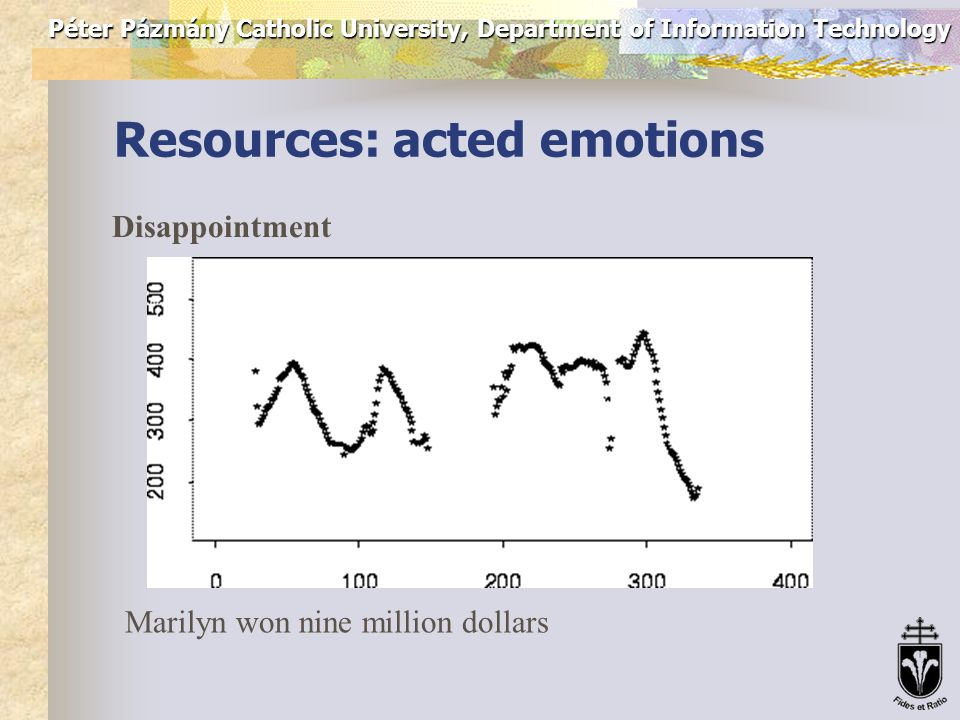 Péter Pázmány Catholic University, Department of Information Technology Resources: acted emotions Excitement Marilyn won nine million dollars