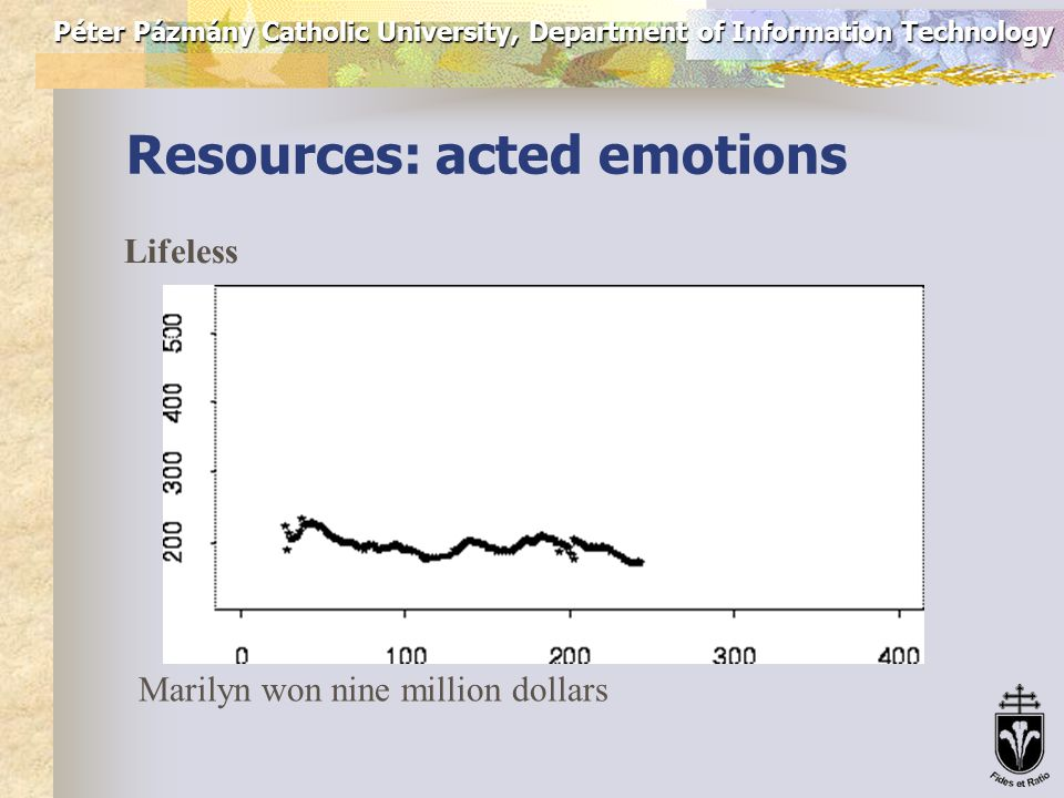 Péter Pázmány Catholic University, Department of Information Technology Resources: acted emotions Sad Marilyn won nine million dollars