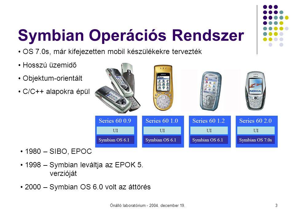 Önálló laboratórium - 2004. december 19.3 Symbian Operációs Rendszer 1980 – SIBO, EPOC 1998 – Symbian leváltja az EPOK 5. verzióját 2000 – Symbian OS
