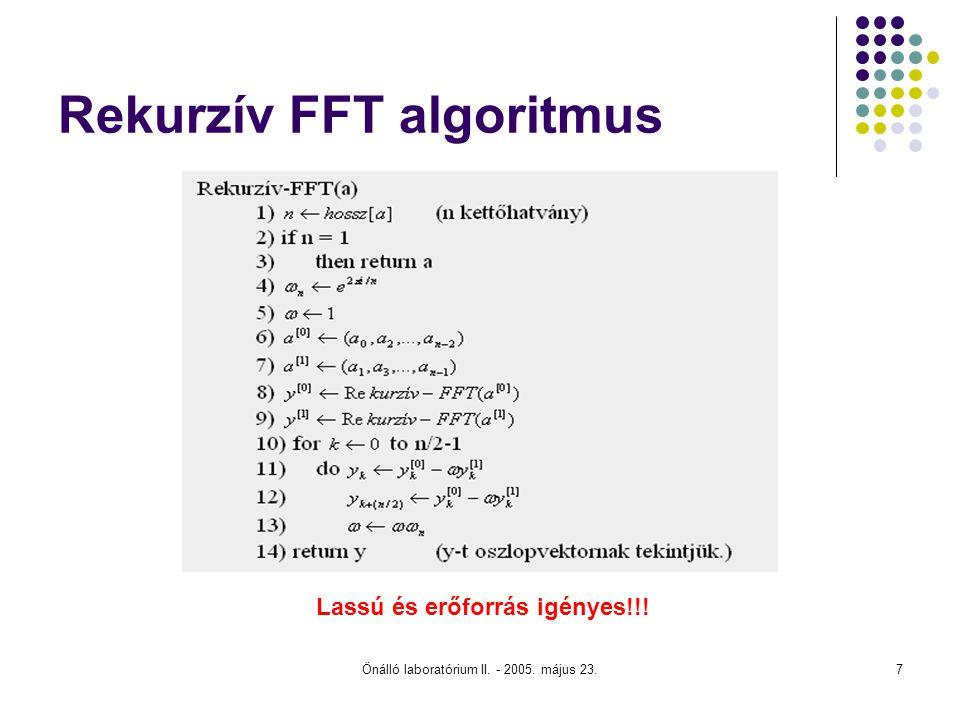 Önálló laboratórium II. - 2005. május 23.7 Rekurzív FFT algoritmus Lassú és erőforrás igényes!!!