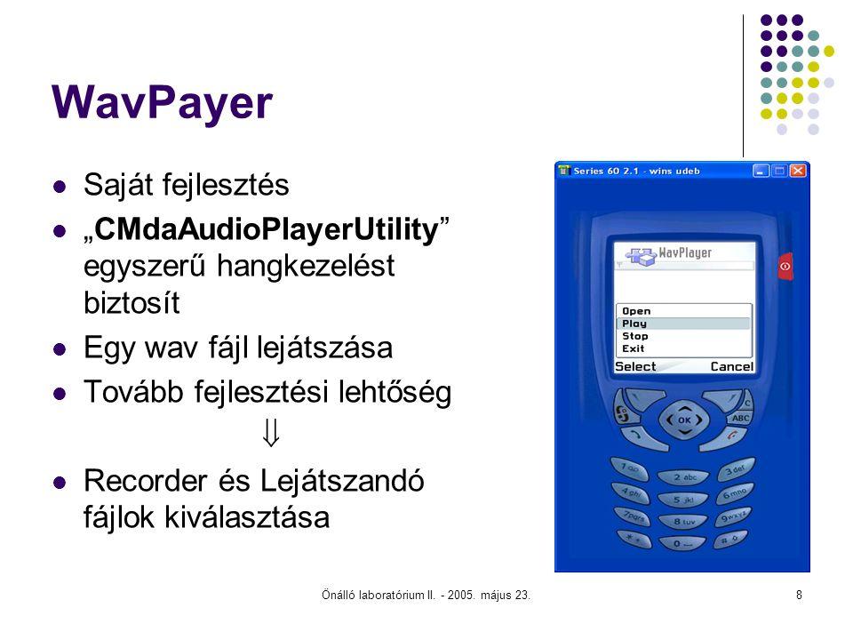 """Önálló laboratórium II. - 2005. május 23.8 WavPayer Saját fejlesztés """"CMdaAudioPlayerUtility"""" egyszerű hangkezelést biztosít Egy wav fájl lejátszása T"""