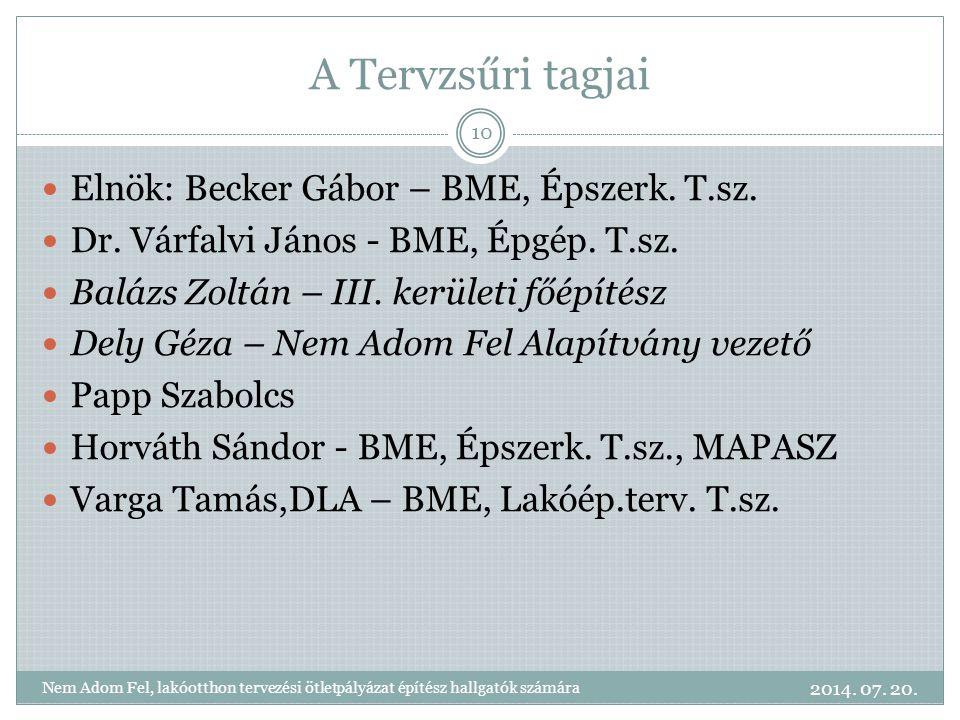 A Tervzsűri tagjai Elnök: Becker Gábor – BME, Épszerk.