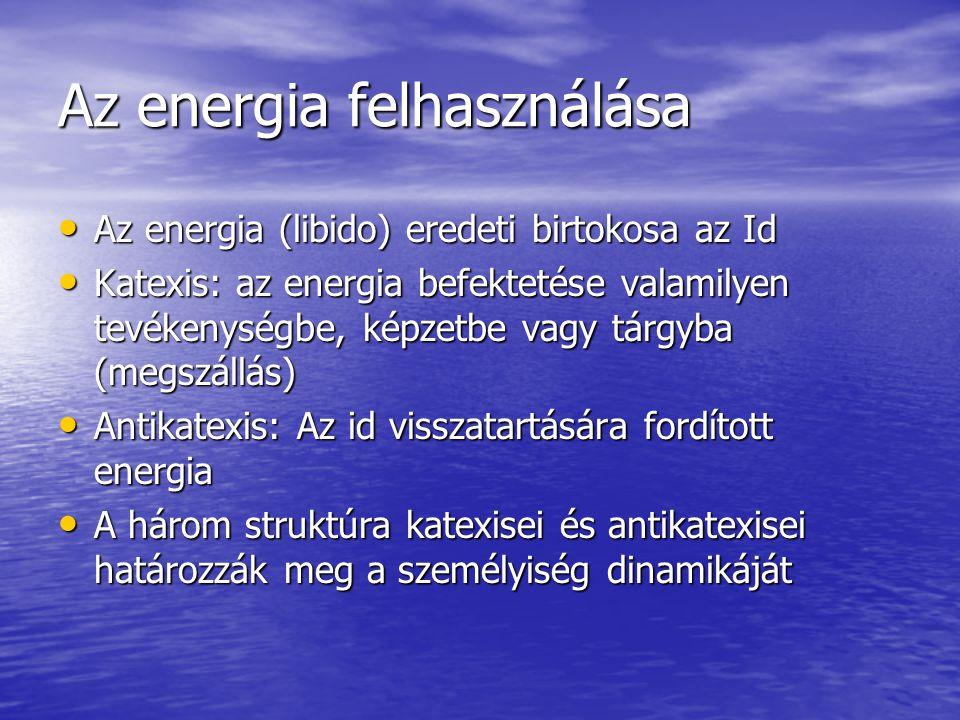 Az energia felhasználása Az energia (libido) eredeti birtokosa az Id Az energia (libido) eredeti birtokosa az Id Katexis: az energia befektetése valam