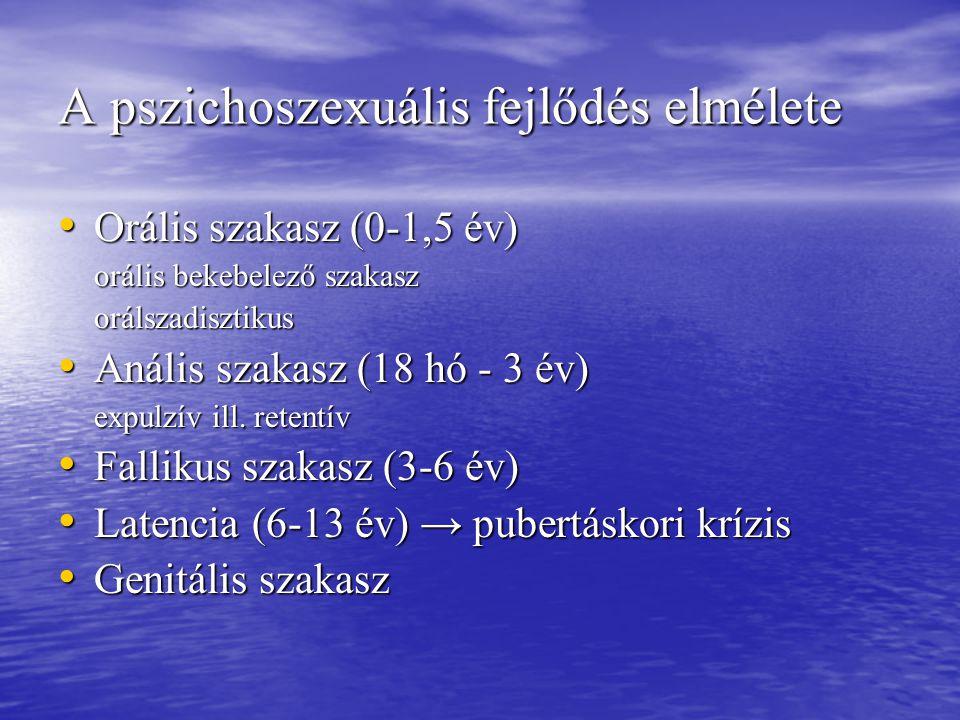 A pszichoszexuális fejlődés elmélete Orális szakasz (0-1,5 év) Orális szakasz (0-1,5 év) orális bekebelező szakasz orálszadisztikus Anális szakasz (18