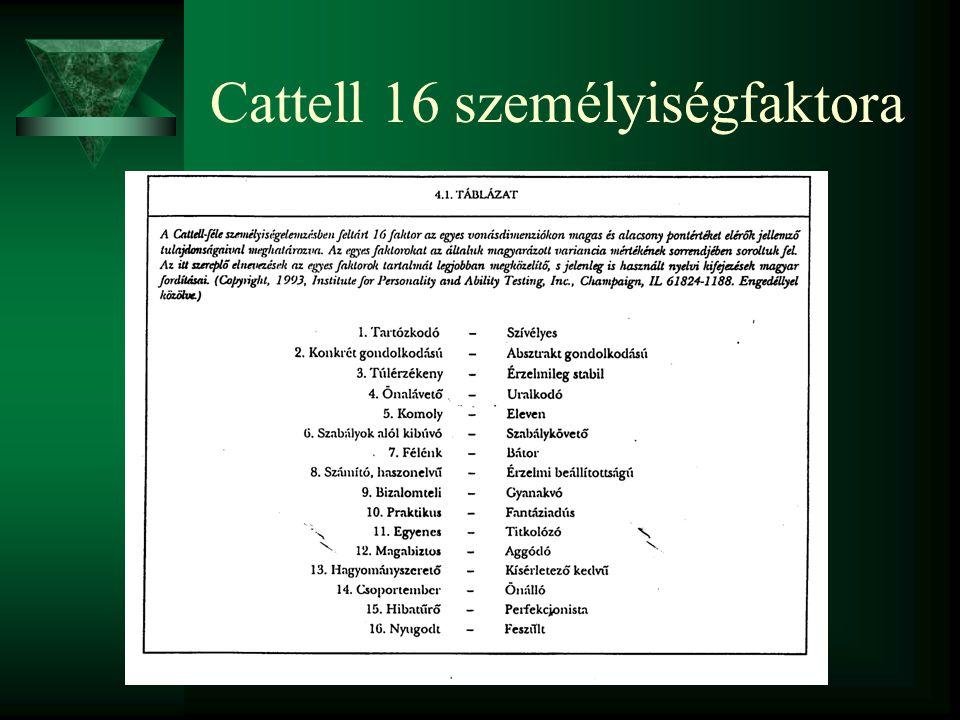 A 16 faktor születésének útja  Allporték listáját szűkítette le, osztályozta, majd az osztályokból (160) kivette a 13 szerinte legfontosabbat.  A ku