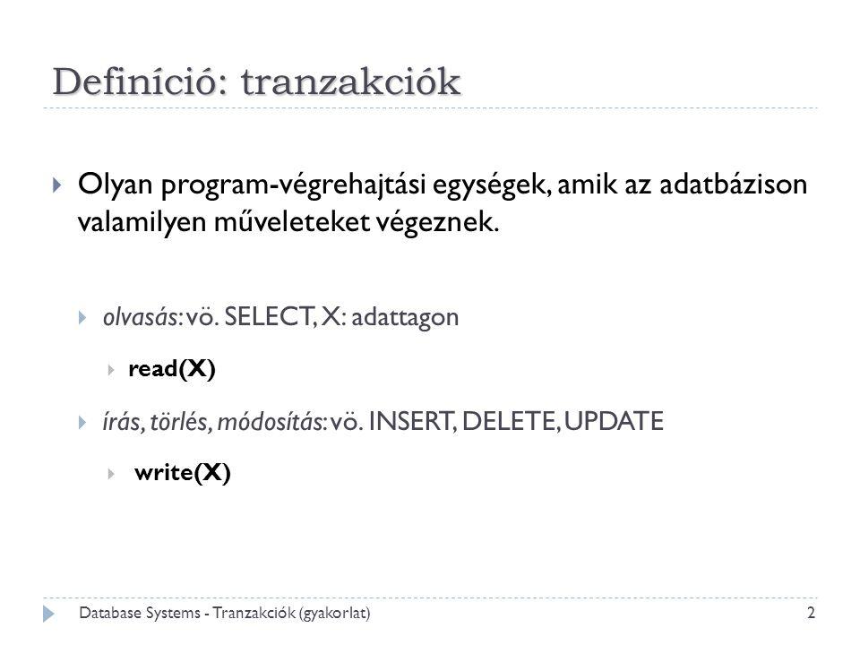 Definíció: tranzakciók  Olyan program-végrehajtási egységek, amik az adatbázison valamilyen műveleteket végeznek.  olvasás: vö. SELECT, X: adattagon
