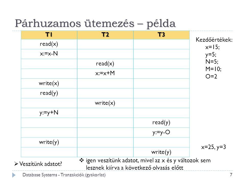 Párhuzamos ütemezés – példa T1T2T3 read(x) x:=x-N read(x) x:=x+M write(x) read(y) write(x) y:=y+N read(y) y:=y-O write(y)  Veszítünk adatot?  igen v