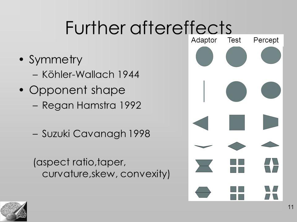 11 Further aftereffects Symmetry –Köhler-Wallach 1944 Opponent shape –Regan Hamstra 1992 –Suzuki Cavanagh 1998 (aspect ratio,taper, curvature,skew, co