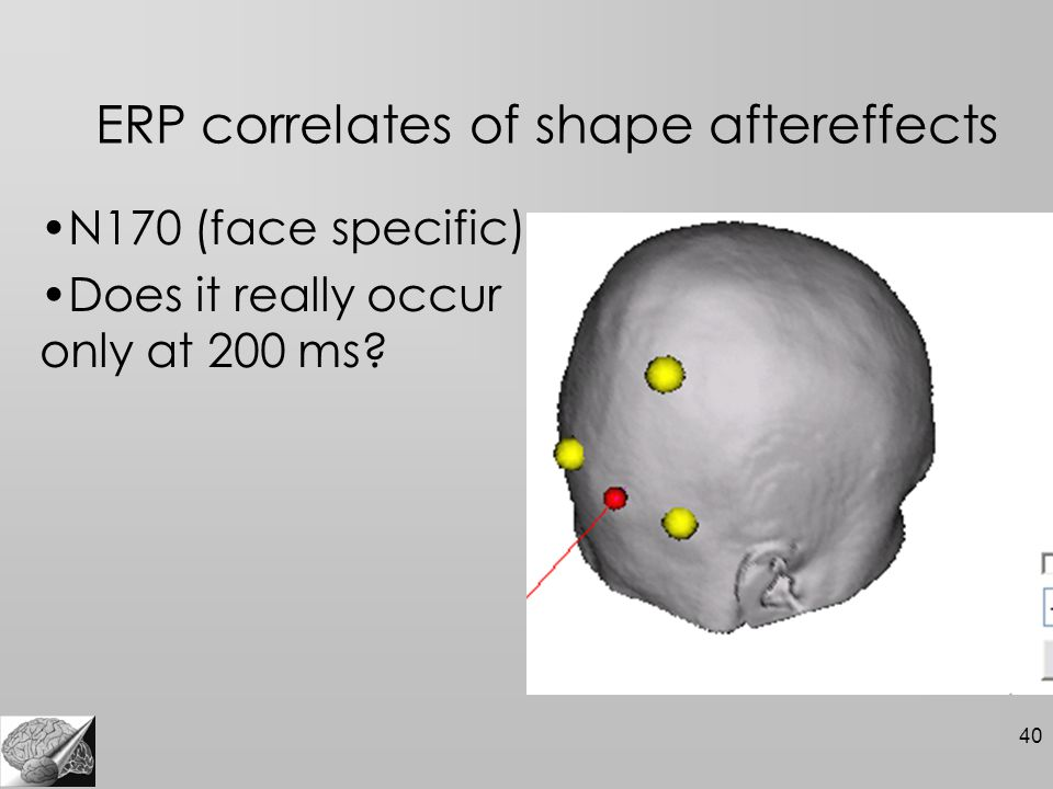 40 ERP correlates of shape aftereffects N170 (face specific) Does it really occur only at 200 ms