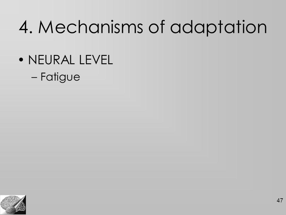 47 4. Mechanisms of adaptation NEURAL LEVEL –Fatigue