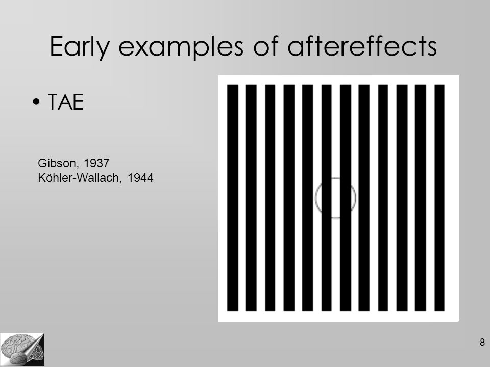 9 Early examples of aftereffects MAE Aristoteles, 1955 Addams, 1834